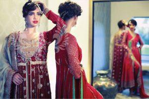 red colour lange bridal dresses 2013