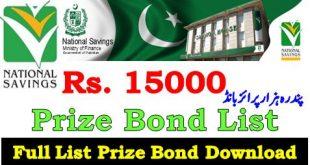 Prize Bond List 15000 Bond Result 2021