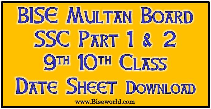 Matric Date Sheet Multan board