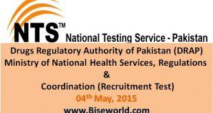 Drugs Regulatory Islamabad Jobs 2015 By NTS Online Apply