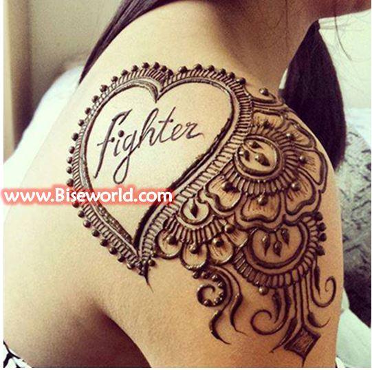 Women Back Shoulder Henna Tattoos 2016