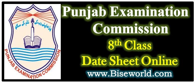Download 8th Class Date Sheet 2021