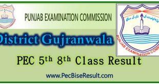 PEC Five Eight Class Result 2021 Gujranwala