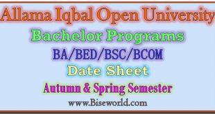 Allama Iqbal Open University Ba Date Sheet 2020
