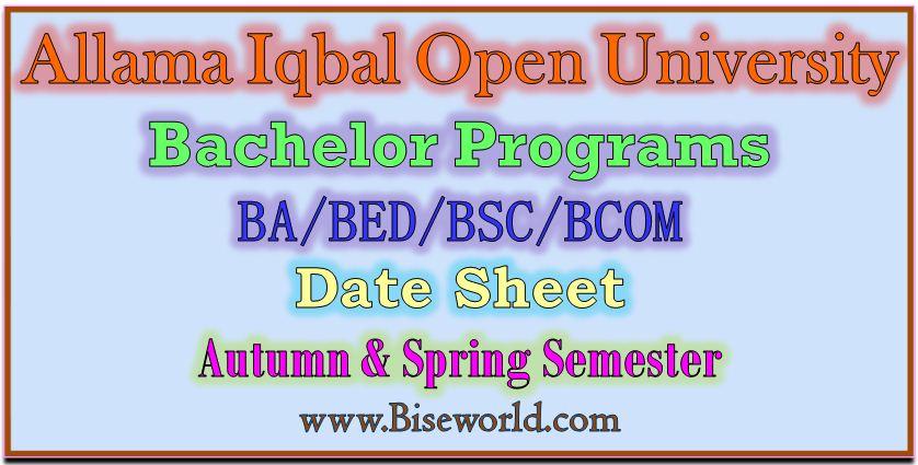 Allama Iqbal Open University Ba Date Sheet 2021
