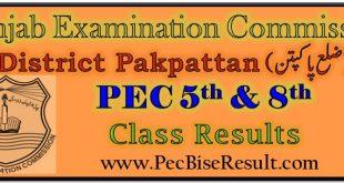 Pakpattan 5th & 8th Class Result 2021