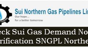SNGPL Northern Sui Gas Demand Notice Verification Check Online