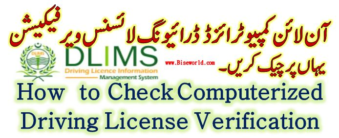 DLIMS Driving License Verification Pakistan