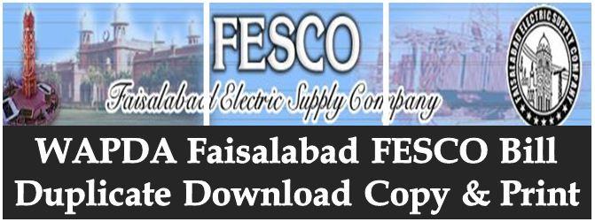 Faisalabad Electricity FESCO Bill Duplicate Downlaod Print and Online Check