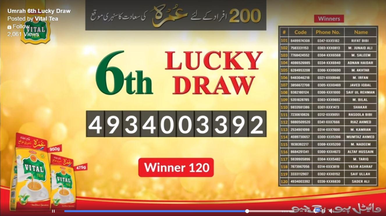 06 Lucky Draw Result Vital Tea 2020