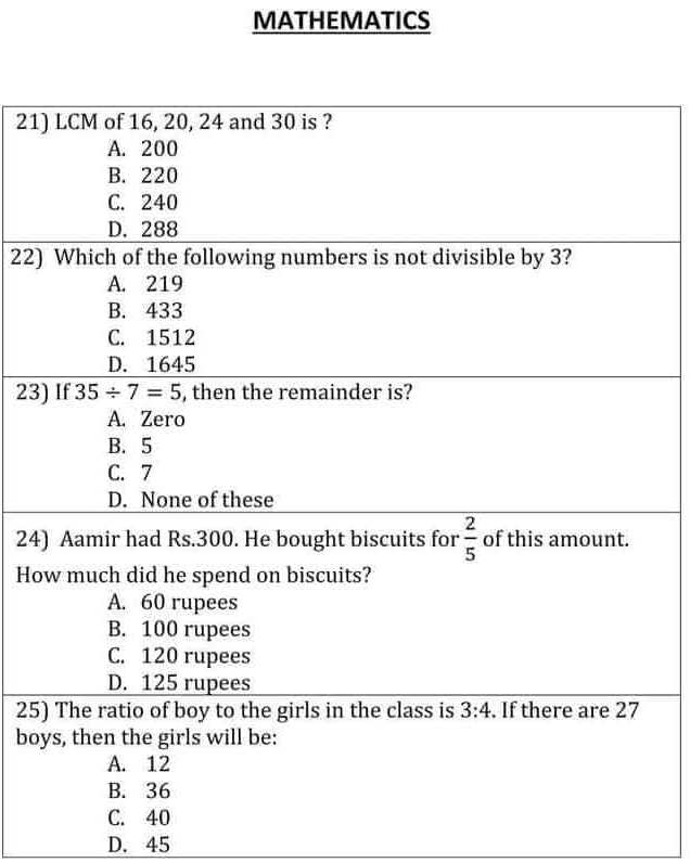 JST PST Mathematics Past Papers Download