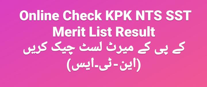KPK NTS SST Merit List National Testing Services