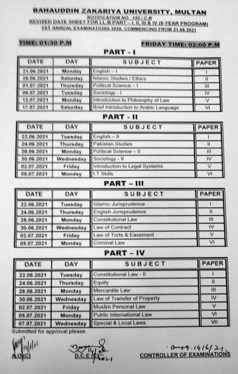 Revised BZU LLB Date Sheet 2021 Annual Exam