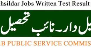 PPSC Tehsildar Jobs Written Test Result Revenue Department